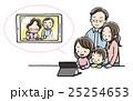 テレビ電話 家族 タブレットのイラスト 25254653