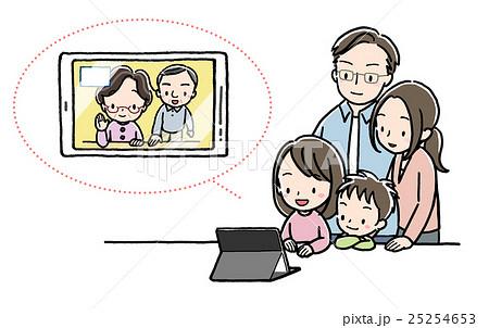 テレビ電話_家族_タブレット_祖父母 25254653