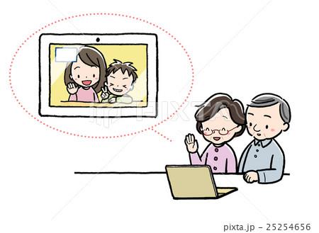 テレビ電話_祖父母_PC_孫 25254656