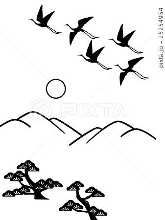 山 松 鶴 飛翔 線画のイラスト素材 25254954 Pixta