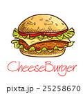 Fast food cheeseburger sketch for cafe menu design 25258670