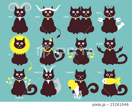 Cat zodiac icons 25261046