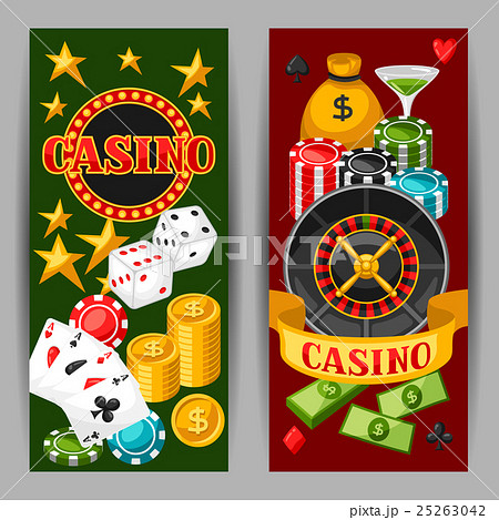 Casino gambling banners or flyers with gameのイラスト素材 [25263042] - PIXTA