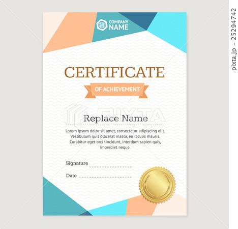 Certificate Vertical Template. Vectorのイラスト素材 [25294742] - PIXTA