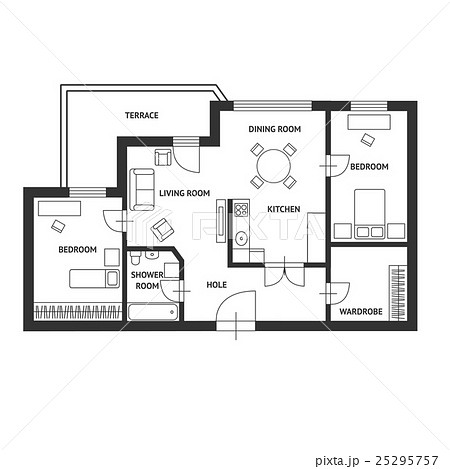 Vector Architect plan with a furniture Flat Designのイラスト素材 [25295757] - PIXTA