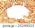 年賀状 酉年 ニワトリのイラスト 25299323