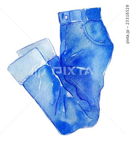 水彩イラスト ファッション デニムパンツのイラスト素材 25316529 Pixta