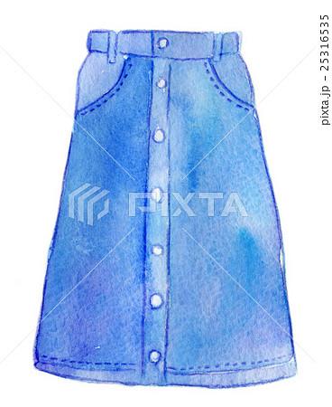 水彩イラスト ファッション デニムスカートのイラスト素材 25316535
