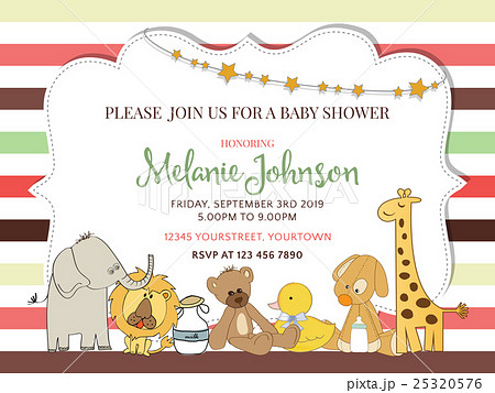 Pretty frame on color lines for baby showerのイラスト素材 [25320576] - PIXTA