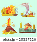 Natural Disaster Retro Cartoon 2x2 Icons Set 25327220