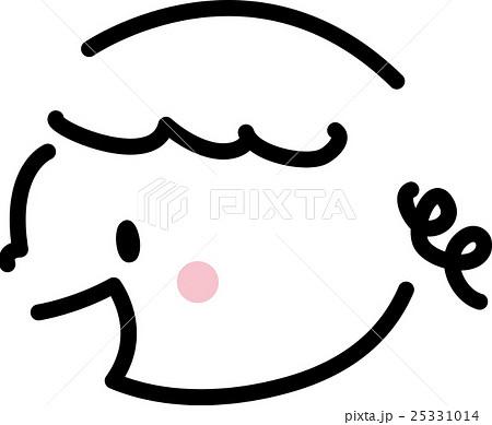 子供 笑顔 横顔 女の子 シンプルイラストのイラスト素材