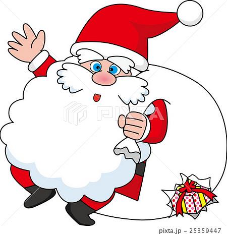 サンタクロースとプレゼント袋のイラスト素材