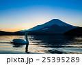 夕暮の富士山と白鳥 25395289