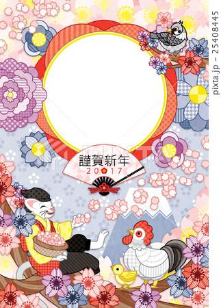2017年酉年完成年賀状テンプレート「花咲か猫さんと鳥写真フレーム」謹賀新年 25408445