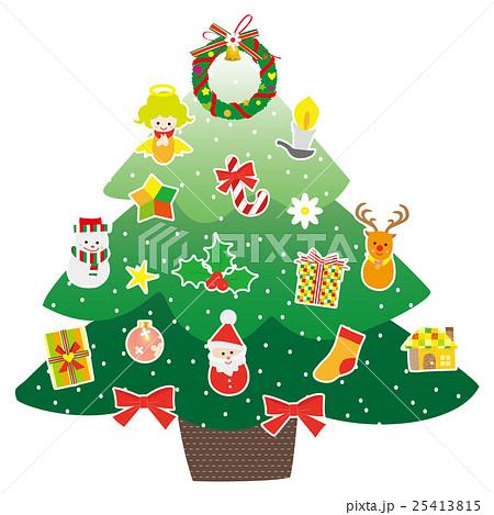 クリスマスツリーとオーナメントのイラスト素材 [25413815] , PIXTA