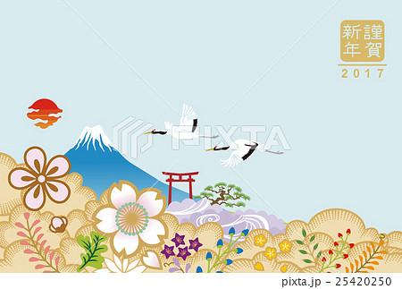 富士と二羽の丹頂 2017年賀状テンプレート 25420250