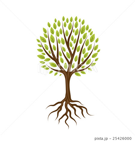 Abstract stylized tree with roots and leavesのイラスト素材 [25426000] - PIXTA