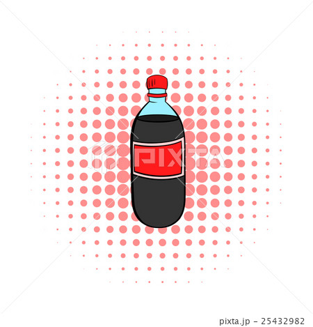 Plastic bottle with a red label icon, comics styleのイラスト素材 [25432982] - PIXTA