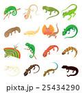 Lizard icons set, cartoon style 25434290