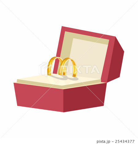 wedding rings in a red box icon cartoon styleのイラスト素材