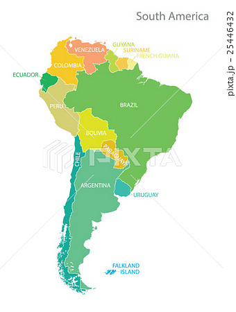 south america map with namesのイラスト素材 25446432 pixta