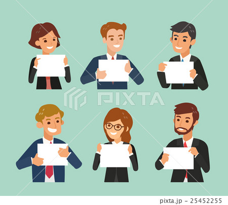 business people holding a blank white sign boardのイラスト素材
