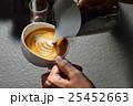 Making of cafe latte art,leaf shape 25452663