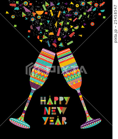 fun happy new year design of drink glass partyのイラスト素材