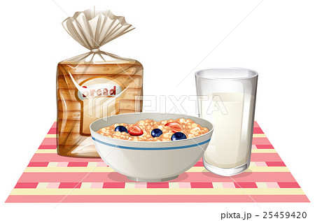 Breakfast set with bread and cerealのイラスト素材 [25459420] - PIXTA
