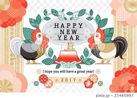 2017年酉年完成年賀状テンプレート「葉っぱと花と鶏」HAPPYNEWYEAR 25460997