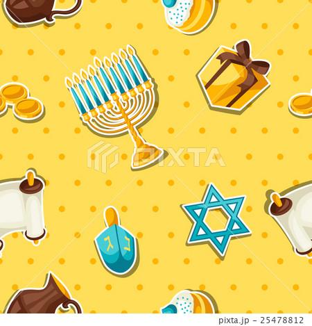 Jewish Hanukkah celebration seamless pattern withのイラスト素材 [25478812] - PIXTA