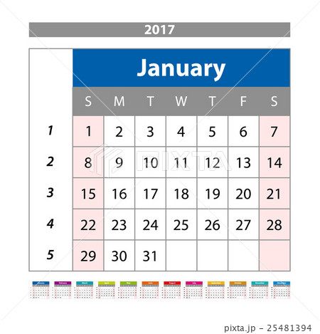 calendar planner for 2017 year design templateのイラスト素材