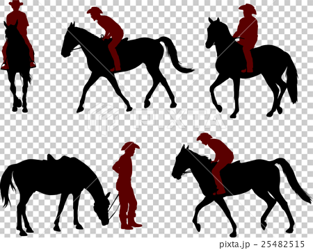 cowboy riding a horse silhouettes 25482515