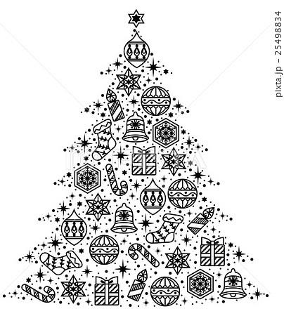 オーナメントのツリー単品白黒のイラスト素材 25498834 Pixta