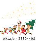 クリスマス 準備 三世代家族のイラスト 25504408