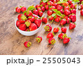 Fresh red strawberry on wood background 25505043