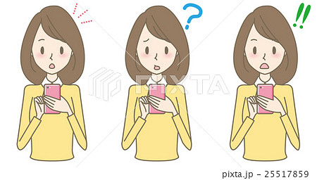女性 スマホ 驚きの表情 25517859