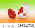 酉年・紅白のニワトリ 25528735