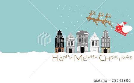 クリスマス、Christmas、サンタ、横長、建物、雪、トナカイ、 25543306
