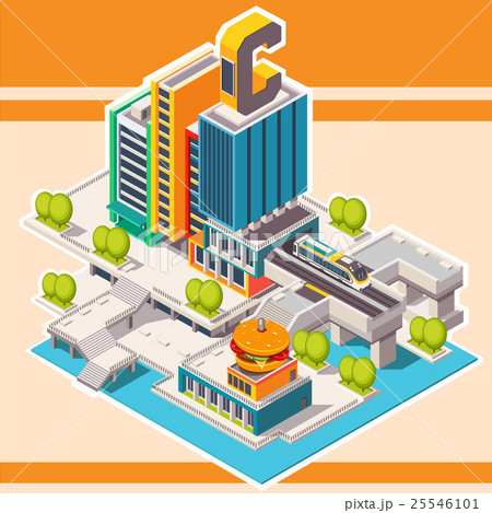 Isometric street with buildings 25546101