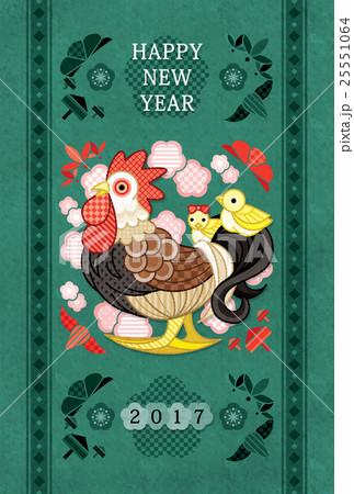 2017年酉年完成年賀状テンプレート「GREEN 2017」HAPPYNEWYEAR 25551064