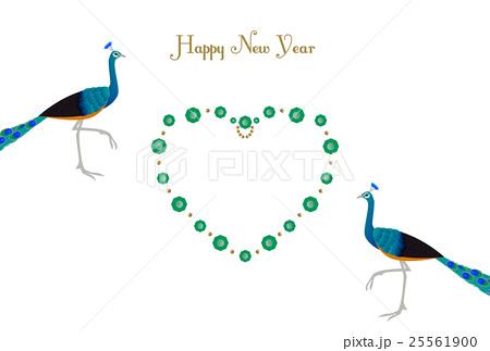 年賀状 孔雀と宝石のハート形フレーム 25561900
