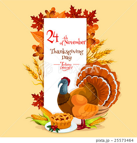 thanksgiving day invitation card templateのイラスト素材 25573464