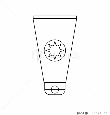 Tube with sunbathing cream icon, outline style 25574076