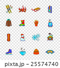 Winter icons set, pop-art style 25574740