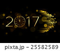 2017 Happy New Year background with gold clock for 25582589