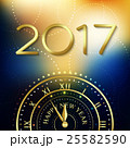 2017 Happy New Year background with gold clock for 25582590