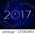 2017 Happy New Year background with gold clock for 25582903