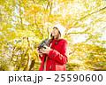 女性 紅葉 紅葉狩りの写真 25590600