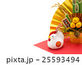酉年・ニワトリと門松と金扇子 25593494